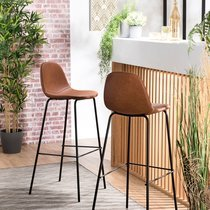 Lot de 2 chaises de bar en PU camel - INDUSTRIO