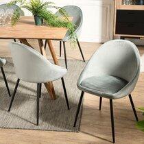Lot de 2 chaises repas en tissu velours vert