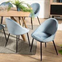 Lot de 2 chaises repas en tissu velours bleu