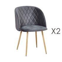 Lot de 2 chaises en tissu velours gris foncé - LINEA
