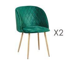 Lot de 2 chaises en tissu velours vert - LINEA