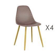 Lot de 4 chaises 54x47x84 cm beiges et pieds naturel