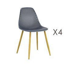 Lot de 4 chaises 54x47x84 cm grises et pieds naturel