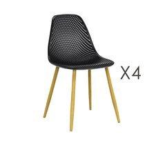 Lot de 4 chaises 54x47x84 cm noires et pieds naturel