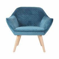 Fauteuil 82x75x75 cm tissu velours bleu - ELGA