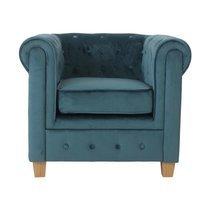 Fauteuil chesterfield en tissu velours bleu - CHESTY