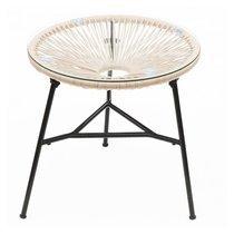 Table ronde 50 cm naturel et noir avec plateau en verre - SCOUBY