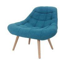 Fauteuil lounge 84x80x85 cm en tissu suédine turquoise - YEIMY
