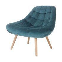 Fauteuil lounge 84x80x85 cm en tissu velours bleu - YEIMY