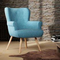 Fauteuil 87x75x97 cm en tissu suédine turquoise - TANIA