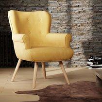 Fauteuil 87x75x97 cm en tissu suédine jaune - TANIA
