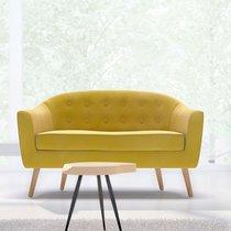 Canapé 130x77x78 cm en tissu velours jaune - NUNCA