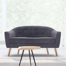 Canapé 130x77x78 cm en tissu velours gris - NUNCA