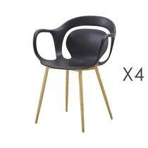 Lot de 4 chaises 60x60x81 cm noir  - MELKY
