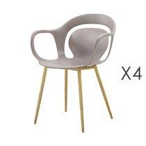 Lot de 4 chaises 60x60x81 cm taupe  - MELKY
