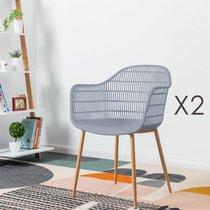 Lot de 2 fauteuils 61x53x81 cm gris - PESCA