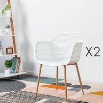 Lot de 2 fauteuils 61x53x81 cm blanc - PESCA