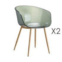 Lot de 2 fauteuils transparents fumés et pieds naturel - DELYA