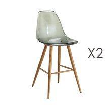 Lot de 2 chaises de bar transparentes fumées et pieds naturel - DELYA
