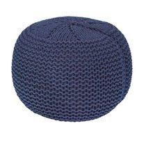 Pouf rond tricoté 40x40x35 cm bleu - NUAGE