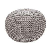 Pouf rond tricoté 40x40x35 cm gris - NUAGE