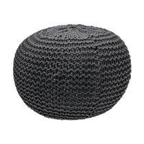 Pouf rond tricoté 40x40x35 cm anthracite - NUAGE
