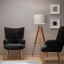 Fauteuil 69x76x98 cm en tissu velours noir - JOFFRY