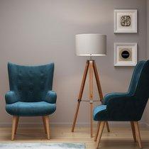 Fauteuil 69x76x98 cm en tissu velours bleu - JOFFRY
