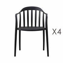 Lot de 4 chaises empilables noires - EMPY