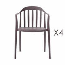 Lot de 4 chaises empilables taupe - EMPY