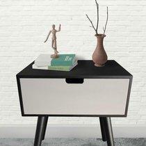 Chevet 1 tiroir 40x35x45 cm noir gris et pieds noirs