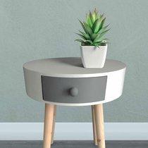 Chevet rond 1 tiroir 38x44 cm blanc, gris et pieds naturel