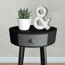 Chevet rond 1 tiroir 38x44 cm noir gris et pieds noirs