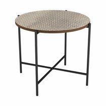 Table d'appoint ronde 50 cm en bois et métal - TRIVIA