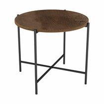 Table d'appoint 50 cm en bois marron et métal - TRIVIA