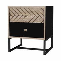 Chevet 2 tiroirs 35x39x47 cm en bois et métal - OLIVIA