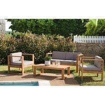 Salon de jardin 4 places en teck et coussins gris - LOUNGY