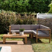 Salon de jardin 6 places en teck et coussins gris - LOUNGY