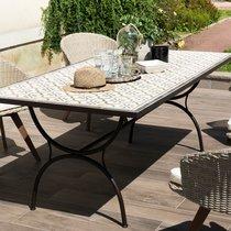 Table rectangulaire 200 cm avec plateau carreaux de ciment - TUINY
