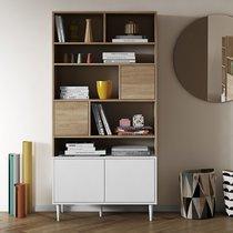Bibliothèque 4 portes 6 niches 89x40x180 cm naturel et blanc - MERYL
