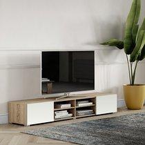 Meuble TV 185 cm avec 2 portes et 4 niches chêne et blanc