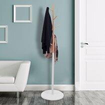 Portemanteau 180 cm en bois naturel et blanc