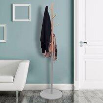 Portemanteau 180 cm en bois naturel et gris