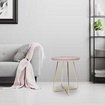 Table d'appoint ronde 40 cm en métal avec plateau glossy rose