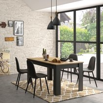 Table rectangulaire avec allonge 160/200x90x77 cm décor chêne et noir