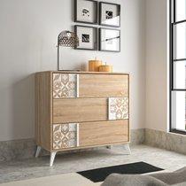 Commode 3 tiroirs décor chêne et carreaux de ciment - CALVI
