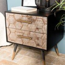 Chevet 2 tiroirs en bois marqueté et métal - LAUSY