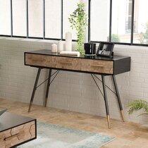 Console 3 tiroirs en bois marqueté et métal - LAUSY