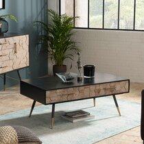 Table basse 2 tiroirs en bois marqueté et métal - LAUSY