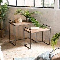 Lot de 2 tables d'appoint  en bois marqueté et métal - POKEY